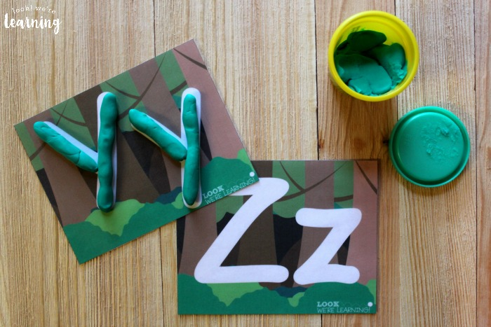 Forest Alphabet Playdough Mats