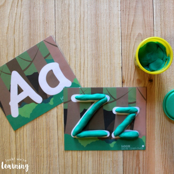 Printable Forest ABC Playdough Mats