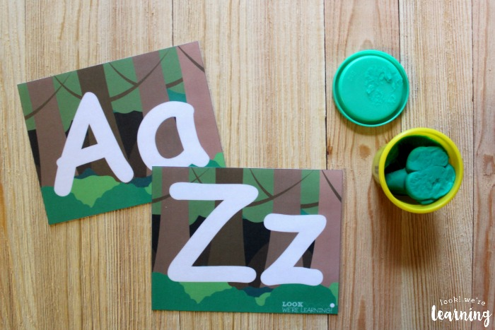 Printable Forest Alphabet Playdough Mats