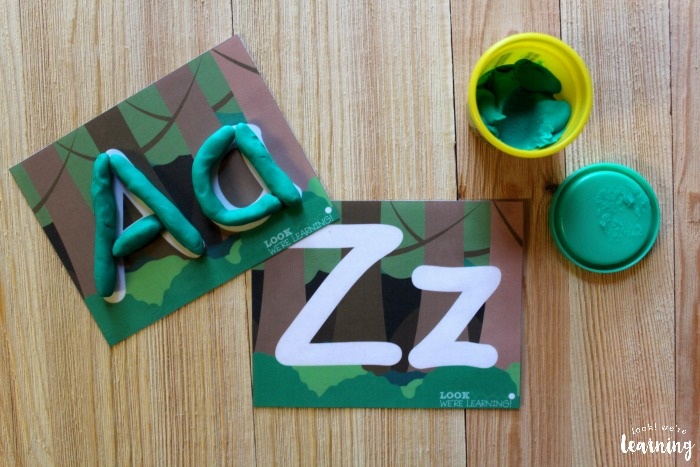 Printable Forest Themed Alphabet Playdough Mats for Kids