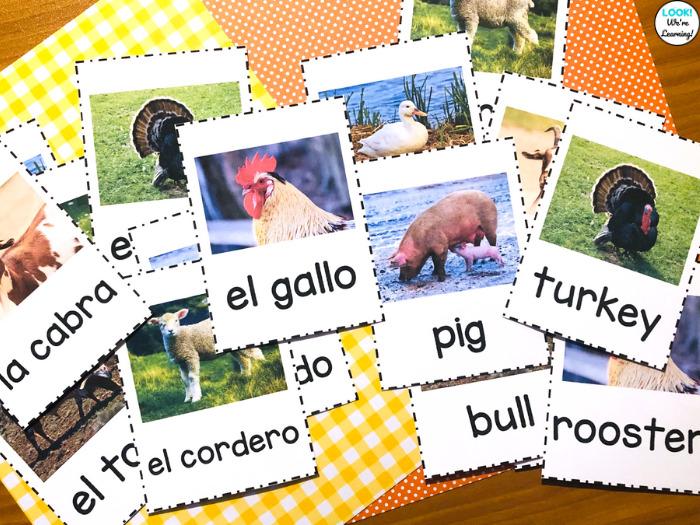 Spanish and English Farm Animal Flashcards for Kids