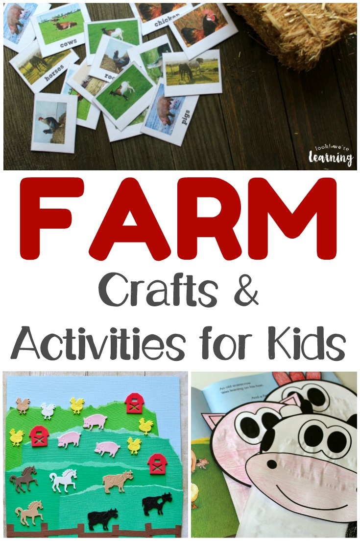 These fun farm activities for kids are perfect for a farm unit this fall! There are farm crafts, farm printables, and even farm videos to help kids learn about where food comes from here!