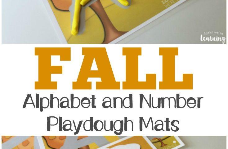 Preschool Playdough Mats: Alphabet and Number Fall Playdough Mats