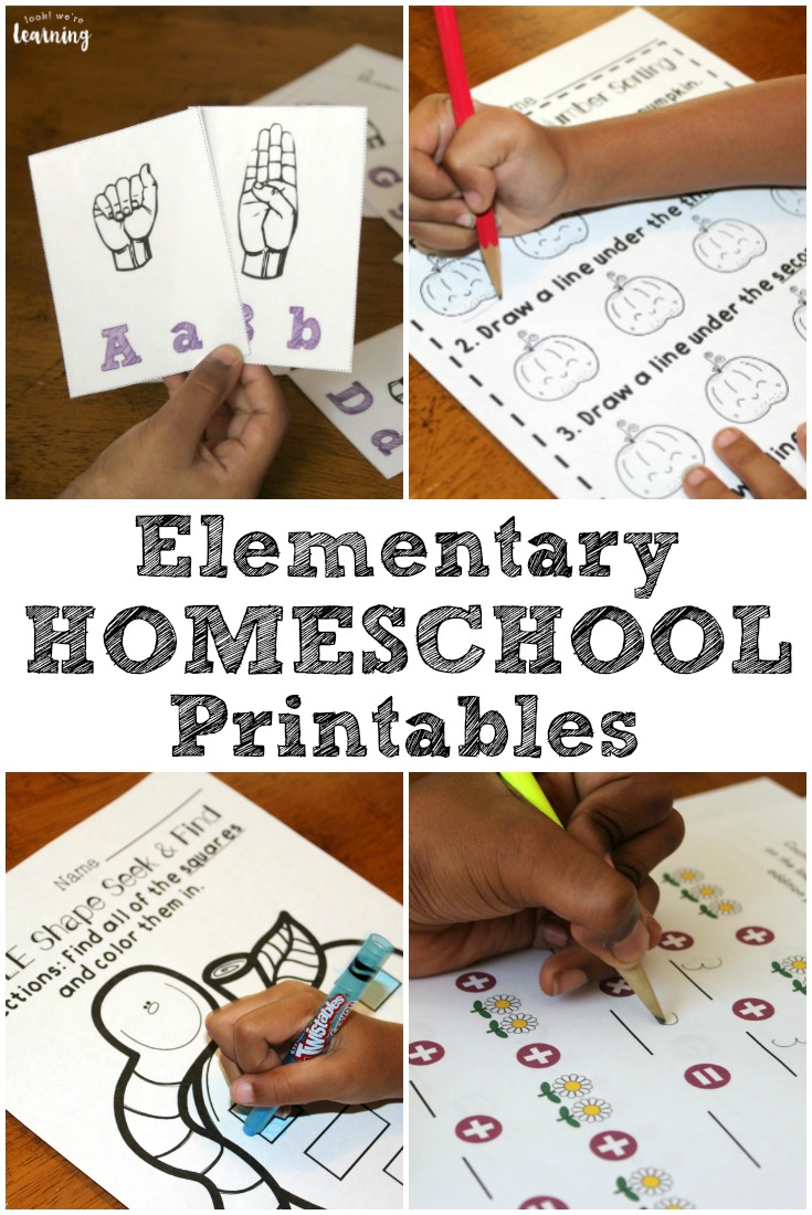 Pick up these elementary homeschool printables to use with your students from grades K4 through 5!
