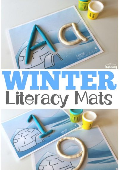Practice letter and number literacy with these winter alphabet and number playdough mats!