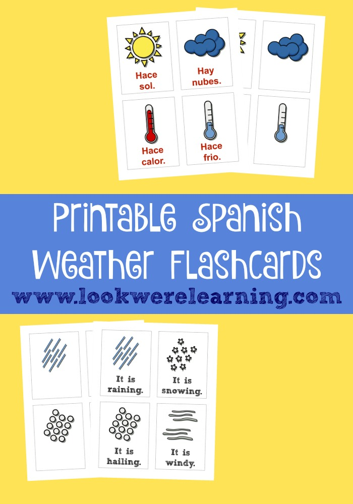 Printable Spanish Weather Flashcards #LaughLearnLinkup