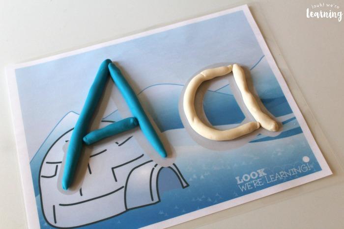 Printable Winter Alphabet Playdough Mats
