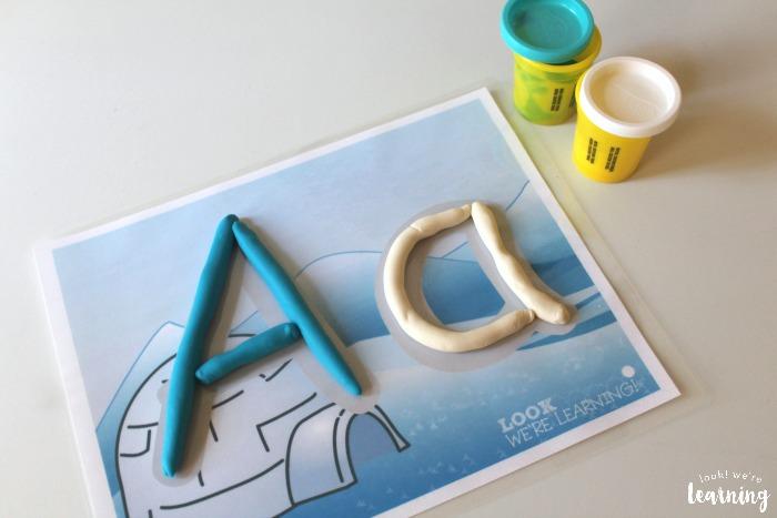 Winter Alphabet Playdough Mats for Kids