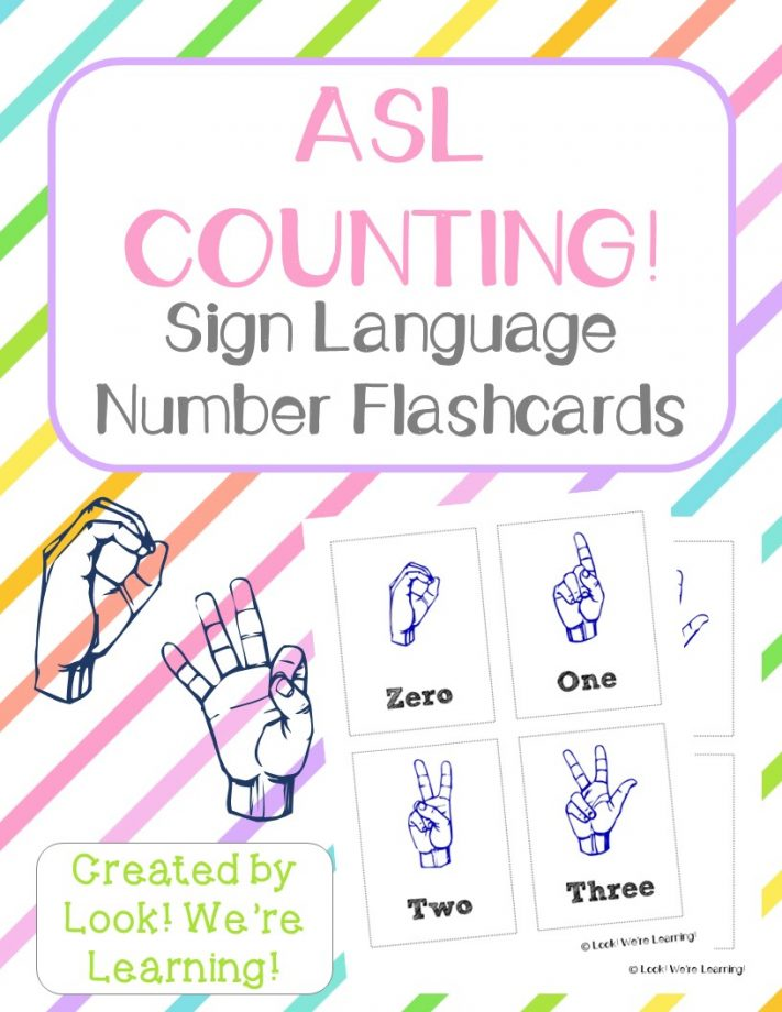 photograph about Sign Language Flash Cards Printable named Absolutely free Printable Flashcards: ASL Range Flashcards