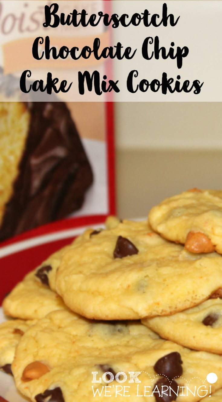 Butterscotch Chocolate Chip Cake Mix Cookie Recipe @ Look! We're Learning!