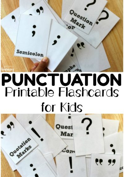 Pick up these printable punctuation flashcards to help kids memorize common punctuation marks in ELA!