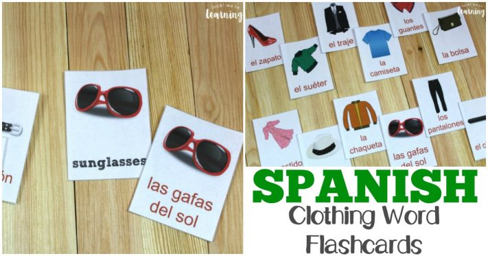 Printable English and Spanish Clothing Word Flashcards for Kids!