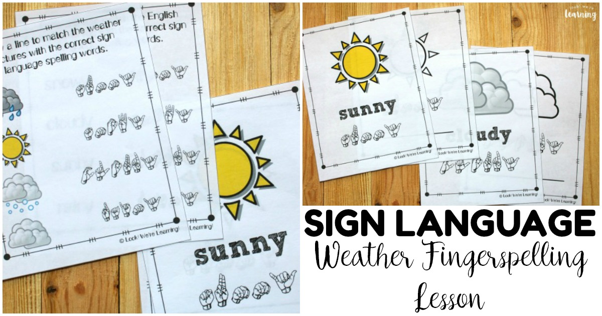 Printable Sign Language Weather Fingerspelling Worksheets for Kids