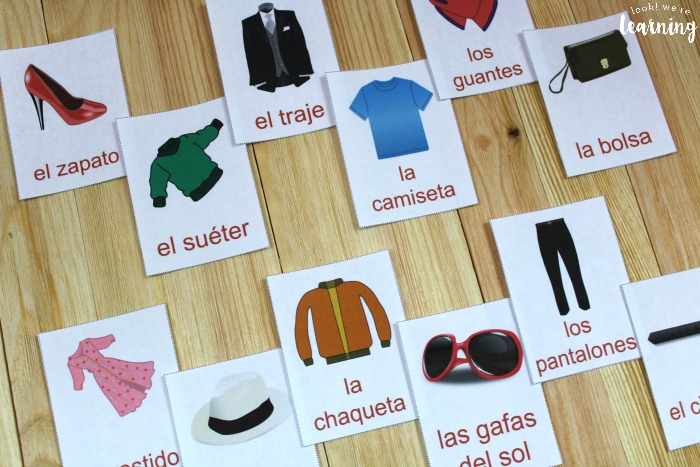 Printable Spanish Clothing Word Flashcards