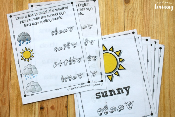 Sign Language Weather Words Fingerspelling Worksheets
