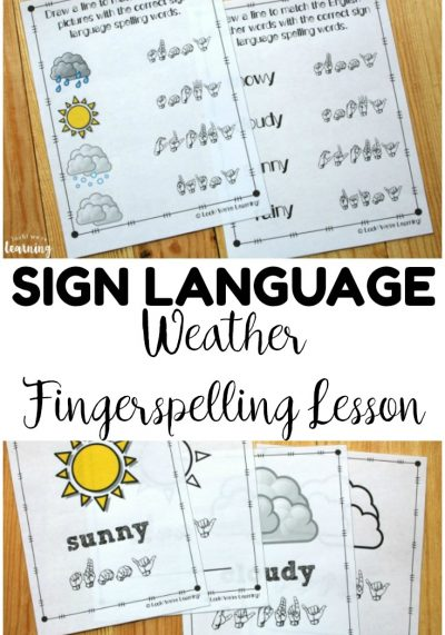 Teach children how to fingerspell common weather words in sign language with this ASL weather fingerspelling lesson!