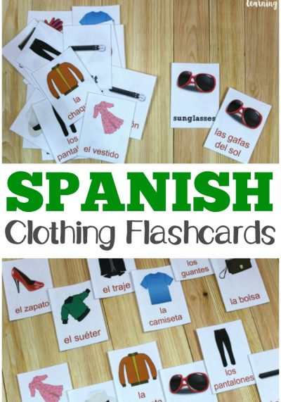 These printable Spanish clothing word flashcards are a great way to help kids build their Spanish vocabulary!