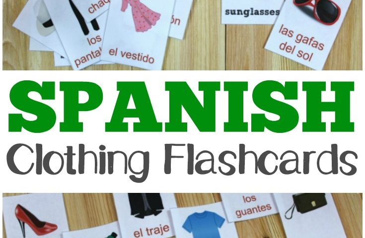 Printable Spanish Flashcards: Spanish Clothing Flashcards