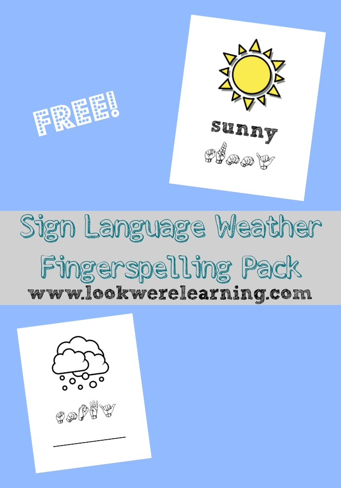 Use these free ASL coloring pages to help kids learn how to spell weather words in sign language!