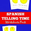 Pick up this Spanish Telling Time Worksheets Pack to help kids learn to tell time in Spanish!
