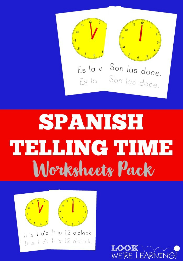 Printable Worksheets telling time in spanish printable worksheets : Spanish Worksheets for Kids: Spanish Telling Time Worksheets Pack