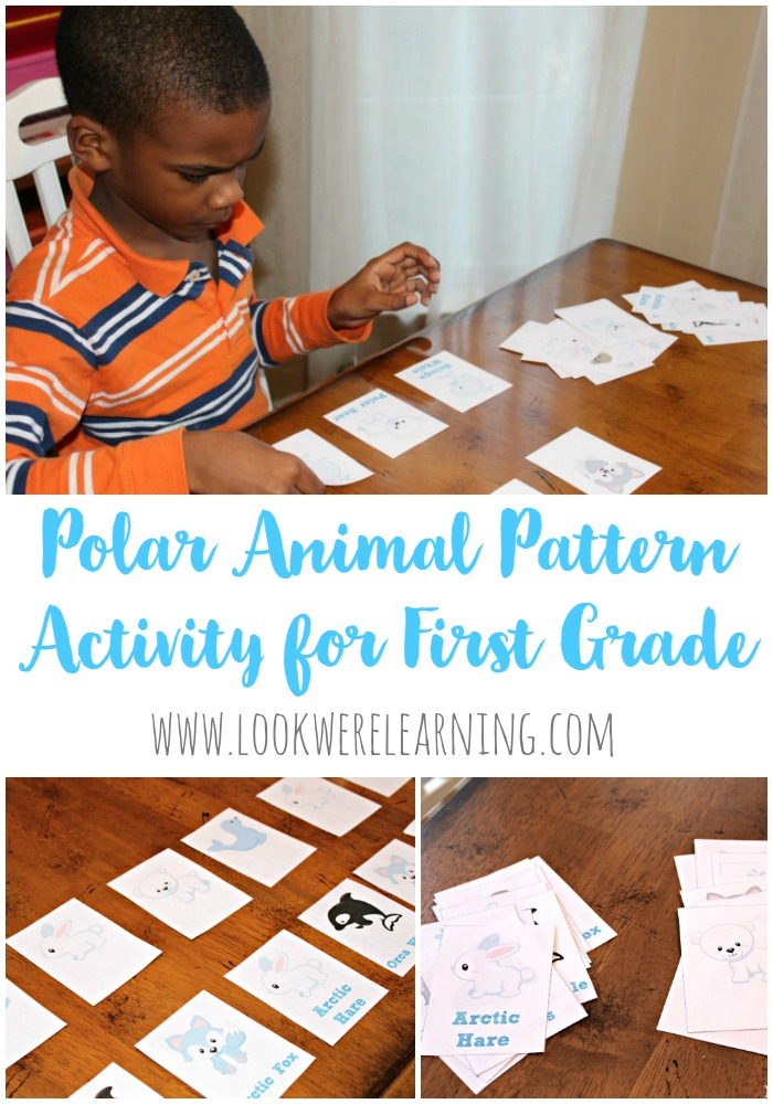This Polar Animal Pattern Activity for First Grade is a fun way to help kids learn to use and make simple math patterns!