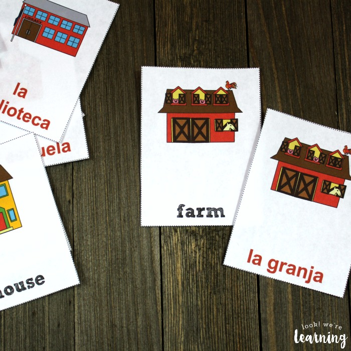 Printable Spanish Community Word Flashcards for Kids