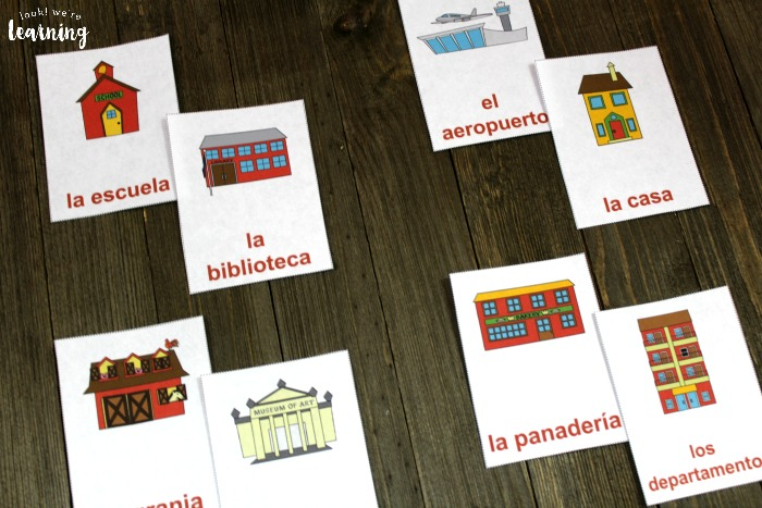 Printable Spanish Community Word Flashcards