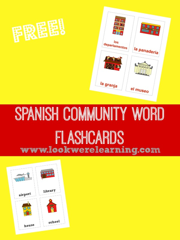 Printable Spanish Community Words Flashcards @ Look! We're Learning!