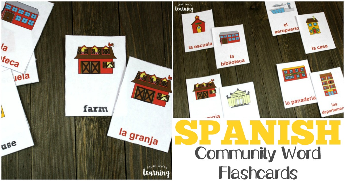 Printable Spanish Community Words Flashcards for Kids