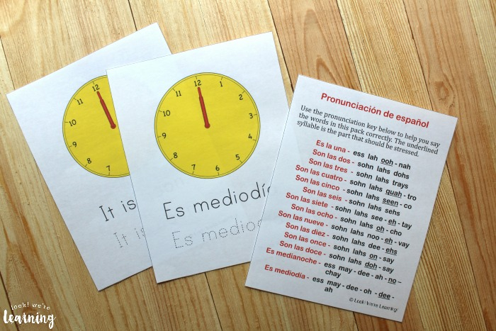 Printable Spanish Telling Time Worksheets for Kids