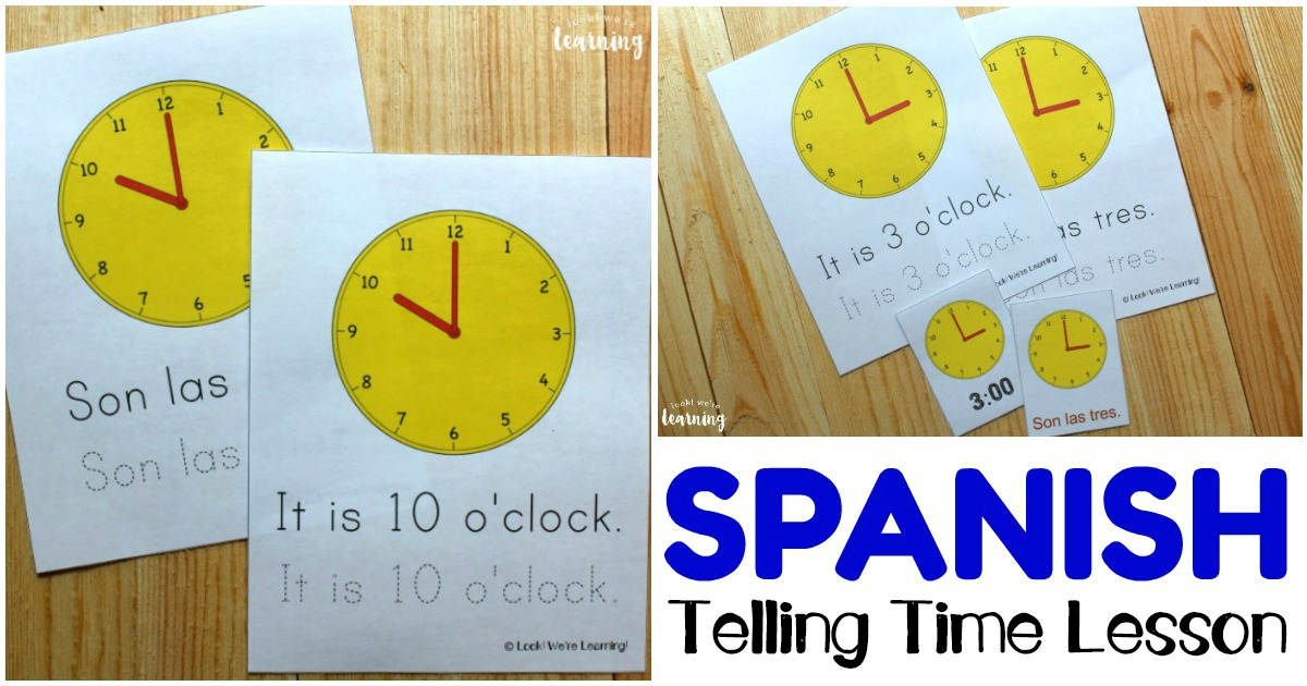 Printable Spanish Telling Time Worksheets for Students