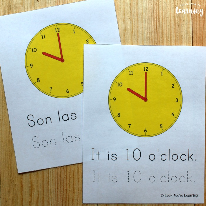 Printable Spanish Telling Time Worksheets