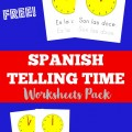 Spanish Telling Time Worksheets Pack