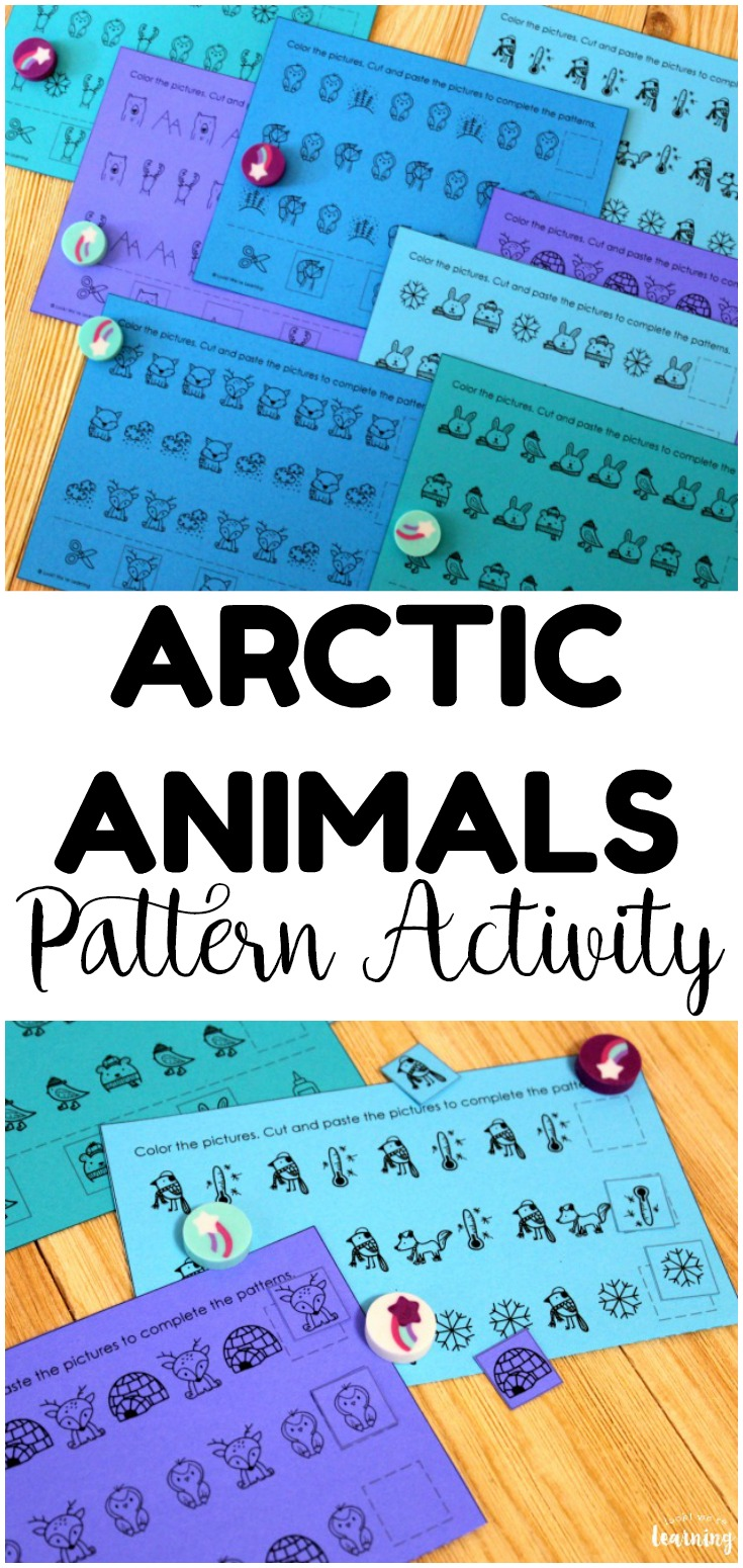 This printable Arctic Animals Pattern Activity is so fun for helping little learners complete basic math patterns! Perfect for winter math centers!