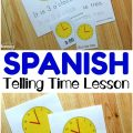 Teach children how to tell time to the hour in Spanish with these printable Spanish telling time worksheets for kids!