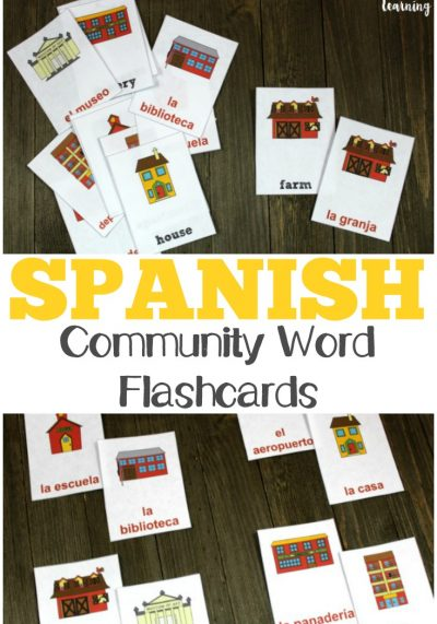 Use these printable Spanish community words flashcards to help kids identify places in the neighborhood in Spanish!