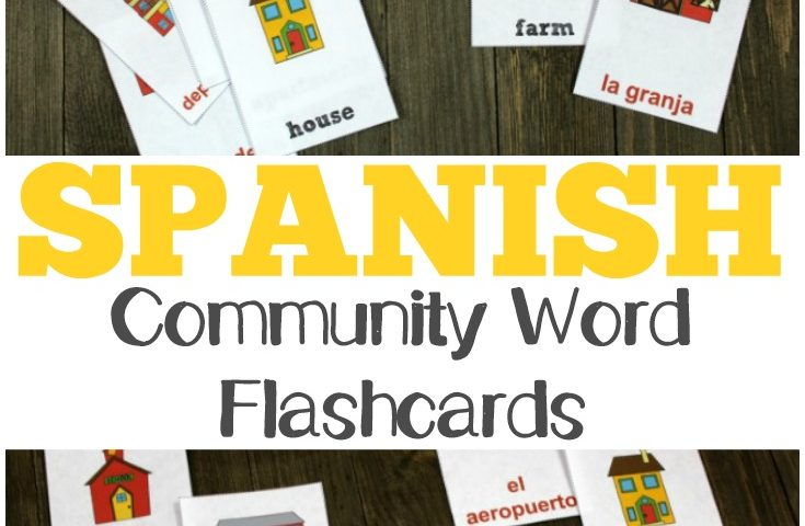 Printable Spanish Flashcards: Spanish Community Words Flashcards