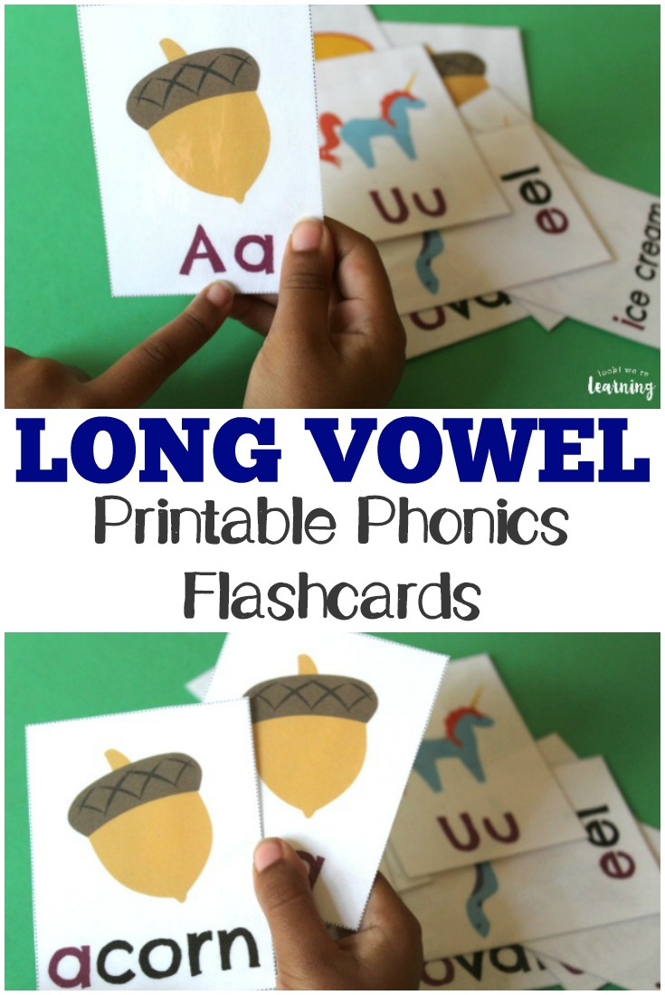 Work on basic phonics with these printable long vowel flashcards for kids!
