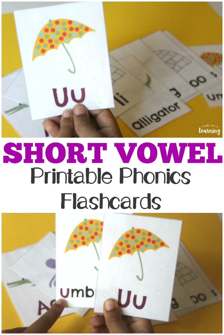 These printable short vowel flashcards make it simple to practice phonics with kids!
