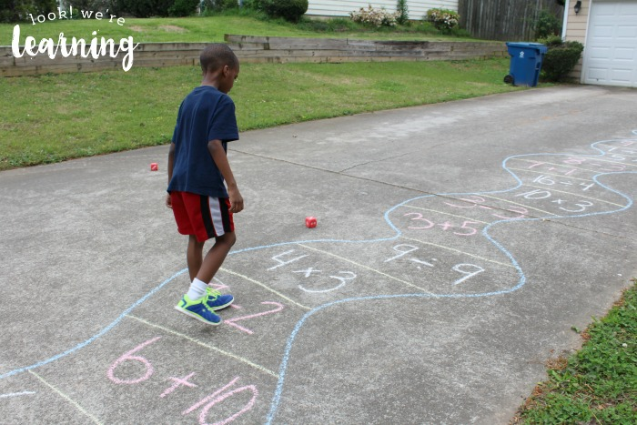 Playing an Outdoor Math Game with Sidewalk Chalk
