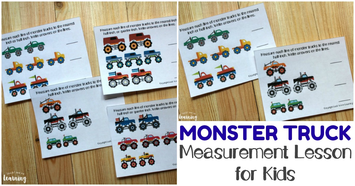 Printable Monster Truck Measurement for First Grade Lesson