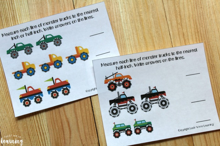Printable Monster Truck Measurement for First Grade Worksheets