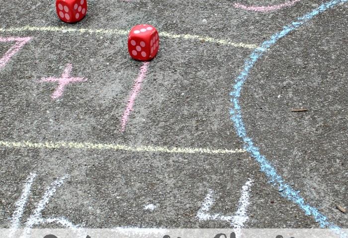 Sidewalk Chalk Outdoor Math Game