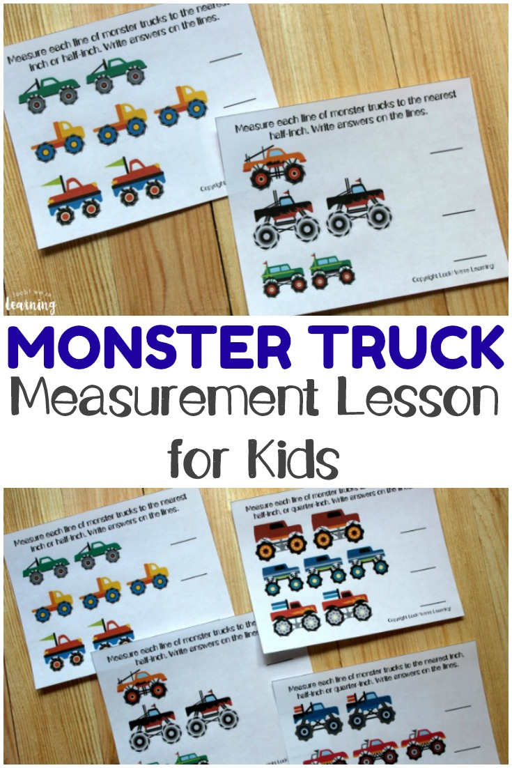 Teach children how to measure to the nearest inch, half-inch, or quarter-inch with these fun monster truck measurement for first grade worksheets!