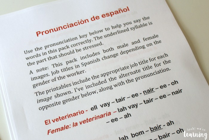 Spanish Community Helpers Words Pronunciation Guide