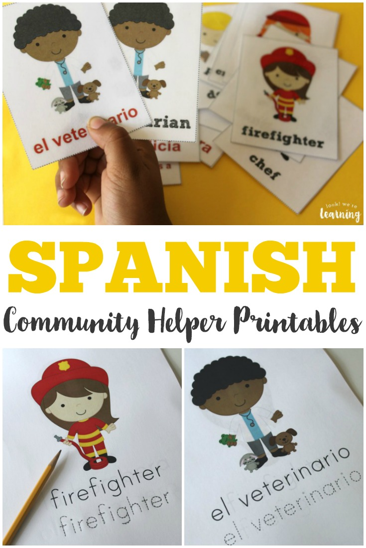 Teach children how to identify community workers in both Spanish and English with these Spanish community helper worksheets!