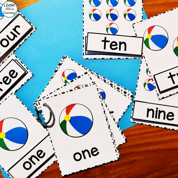 Beach Ball Counting to Ten Cards