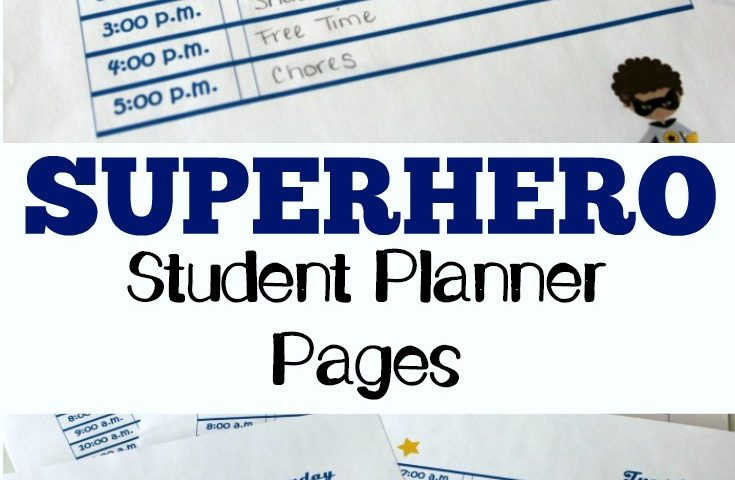 Superhero Free Student Planner Pages