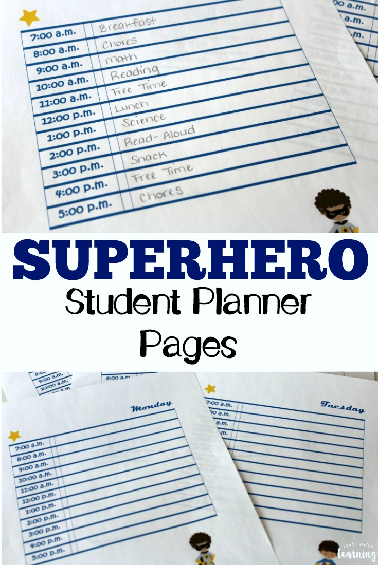 Pick up these free superhero student planner pages to get your kids ready for the new school year!